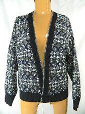Vintage Santana Ltd Multi Color Abstract Acrylic Cardigan Button Sweater M
