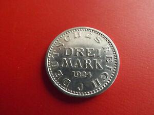 * Weimarer Republikr 3 Reichsmark 1924 J. Silber *  (89)(Alb.3)