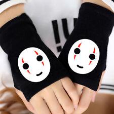 Anime Spirited Away No Face Man Cotton Knitted Gloves Fingerless Mittens