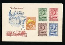 BECHUANALAND 1955 FDC BIRDS + LIONS ILLUSTRATED 4 VALUES