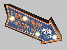 RETRO BUDWEISER BUD MARQUEE JERSEY BEER BAR LIGHT BOX SIGN Edmonton Oilers