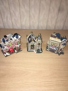Lot of 3 Ceramic Christmas/Holiday Village Houses - Church Bookstore Firestation
