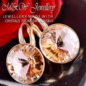 925 Silver Rose Gold Pl. Earrings Crystals From Swarovski® RIVOLI - Vintage Rose