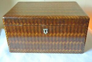 "Antique Marquetry Wood Herringbone Pattern Sewing Box Mop w/ Key 11 3/8"" x 8 3/8"
