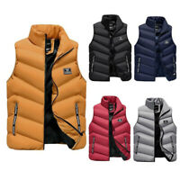 Mens Cotton Padded Detach Vest Sleeveless Jacket Body Warmer Gilet Quilted Coats