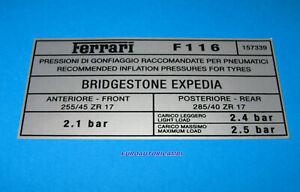 FERRARI 456 GT GTA M GT GTA BRIDGESTONE EXPEDIA TYRE TIRE PRESSURE DECAL GENUINE