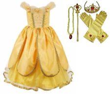Girls Beauty and the Beast Dress kids Princess Belle Dress UP Set Size 2-8