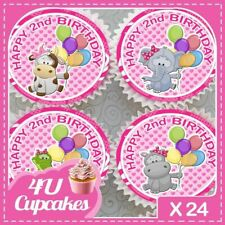 24 X 2ND BIRTHDAY PINK CUTE ANIMALS - EDIBLE CUPCAKE TOPPERS RICE PAPER CCME002