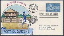 "#1123-20 ""FORT DUQUESNE"" ON FDC HAND PAINTED WRIGHT CACHET BT885"