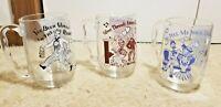 Set of 3 Vintage Clear Glass 16oz Mugs Songs Sheet Music & Lyrics