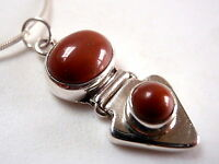 Red Jasper Double Gem Stone 925 Sterling Silver Pendant Oval Round New