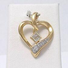 14K Gold .15 ctw Diamond Open Heart Charm Pendant 2.7 Gr