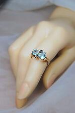 10k Gold Blue Topaz&Sapphire 2.18ct  Heart Ring Sz.7.75