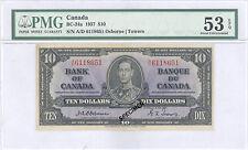 $10 Canada 1937: Charlton #: BC-24a; PMG Graded AU 53-EPQ. SCARCE!