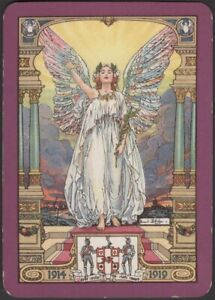 Playing Cards Single Card Old Antique Wide  1919 WORSHIPFUL Co. ANGEL of PEACE B