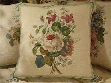 "14""Handmade Elegant White ROSE Bouquet Beautiful Petit Point Needlepoint Pillow"