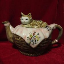 New listing Andrea by Sadek,Collectible Cat Lid Basket Weave Teapot