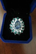 Tanzanite & Emerald (Simulated) Large Cluster/Statement Ring - Sz 9 - Silver