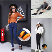 Women Fleece Lined pencil pants Thick Thermal Warm High Waist Stretch Jeans Slim
