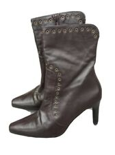 Jane Shilton Ladies Boots 4 37 Brown Pointed Toe Real Leather High Heel Eyelets