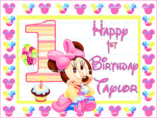 MINNIE MOUSE BABY 1ST BIRTHDAY: personalized Edible Image Cake Topper  FREE SHIP