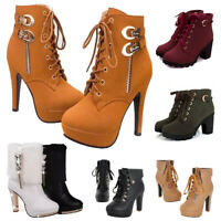 Winter Women's Buckle Ankle Boots Chunky High Heels Lace Up Martin Boot Zipper