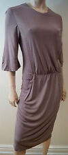 CALVIN KLEIN COLLECTION Taupe Beige Round Neck 3/4 Sleeve Pleat Front Dress UK12