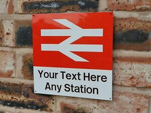 British Rail Station Sign - Bespoke Metal Railway Wall Plague - Train Gift