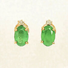 NATURAL EMERALD EARRINGS GENUINE DIAMONDS 9K GOLD STUDS FEBRUARY BIRTHSTONE NEW