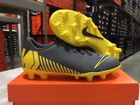 Nike Junior Vapor 12 Club GS FG/MG Soccer Cleats (Grey/Yellow) Size: 1-6 NEW!