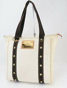 Auth LOUIS VUITTON Antigua MM Off White Canvas Tote Shoulder Bag Purse #40757