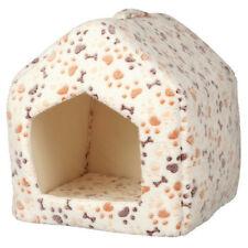 Cama cueva casita Lingo blanca y beige para perros y gatos 41x35x26 cm