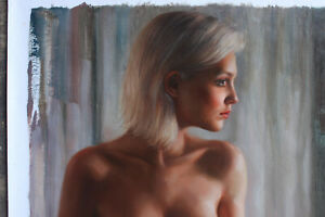 """Unique/Original oil painting on canvas sitting girl female nude painted 24""""x36"""""""
