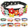 Pet Dog Puppy Cat PU Leather Collar Adjustable Buckle Collar Neck Strap Flower /