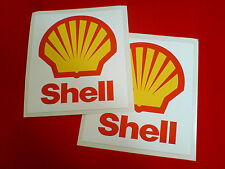 SHELL Old Style  Vintage Retro Motorsport Race Car Stickers Decals 2 off 110mm
