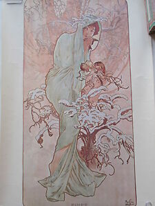Vintage Mucha Reproduction Small Poster Winter Four Seasons Art Deco Cocorico