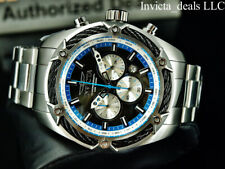 Invicta Men's 52mm BOLT THUNDER Chronograph BLUE DIAL Silver/Blue Tone SS Watch