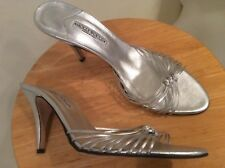 Hollywould Silver Metallic Leather Strappy slim Heel Size 40 US 10 NWOB