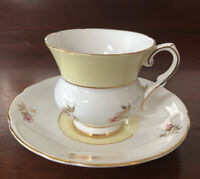 Royal Stafford RARE Soft Yellow Bulbous Cup with Saucer Pink Rose Buds