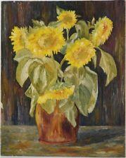 HUILE SUR CARTON, Le bouquet de tournesol, Ancien. hpa14