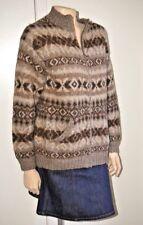 Ralph Lauren brown llama blend zip front cardigan sweater Southwestern M womens