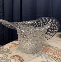Vintage Large Clear Glass Hobnail Hat Vase, DECO ART