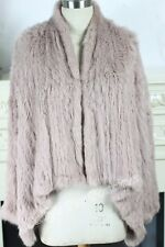 17 NEW COLOR 100% RABBIT FUR SWING LONG SLEEVE JACKET Dusty Pink Free P&P