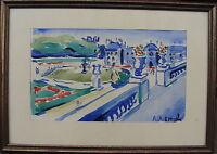 Schlosspark, Aquarell, unleserlich signiert, um 1940/50