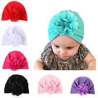 Newborn Baby Boy Girl Flower Turban Headwrap Hat Infant Kid Elastic Headband Cap