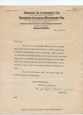 Ransome Concrete Machinery Co. 1919 letter signed by Robert B. Campbell - Boston