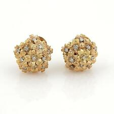 Estate Movable Diamonds Spring Flowers Cluster 18k Yellow Gold Earrings