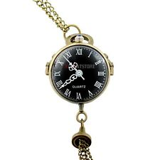 Antique Crystal Ball Vintage Pocket Watch Necklace Pendant Quartz Chain Gift New