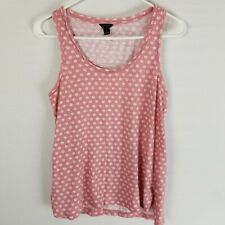 Ann taylor linen blend sleeveless floral tank top coral pink cream scoop neck S