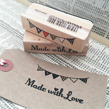 Set of 2 Stamps 'Made with Love' & Bunting Wooden Rubber Printing Stamp Craft